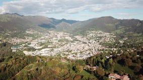 Drone aerial view to the villages of Leffe, Gandino, Casnigo, Peia and Cazzano Sant Andrea, Bergamo, It. Drone aerial view to the villages of Leffe, Gandino stock footage
