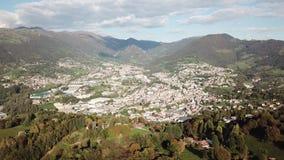 Drone aerial view to the villages of Leffe, Gandino, Casnigo, Peia and Cazzano Sant Andrea. Located at Gandino Valley, Bergamo, Italy stock footage