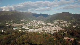 Drone aerial view to the villages of Leffe, Gandino, Casnigo, Peia and Cazzano Sant Andrea. Located at Gandino Valley, Bergamo, Italy stock video