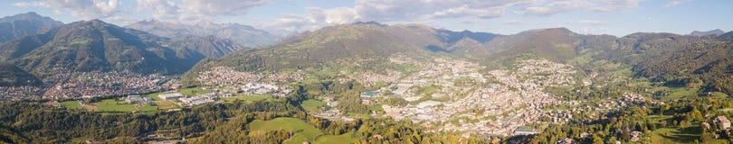 Drone aerial view to the villages of Leffe, Gandino, Casnigo, Peia and Cazzano Sant Andrea, Bergamo, It. Drone aerial view to the villages of Leffe, Gandino Stock Photos