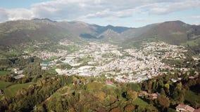 Drone aerial view to the villages of Leffe, Gandino, Casnigo, Peia and Cazzano Sant Andrea, Bergamo, It. Drone aerial view to the villages of Leffe, Gandino stock video footage