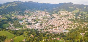 Drone aerial view to the villages of Leffe, Gandino, Casnigo, Peia and Cazzano Sant Andrea, located at Gandino Valley. Bergamo, Italy Stock Photography