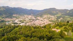 Drone aerial view to the villages of Leffe, Gandino, Casnigo, Peia and Cazzano Sant Andrea, located at Gandino Valley. Bergamo, Italy Stock Photo