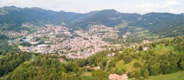 Drone aerial view to the villages of Leffe, Gandino, Casnigo, Peia and Cazzano Sant Andrea, located at Gandino Valley. Bergamo, Italy Royalty Free Stock Photography
