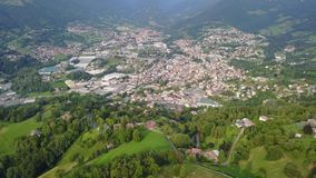 Drone aerial view to the villages of Leffe, Gandino, Peia and Cazzano Sant Andrea, located at Gandino Valley stock footage