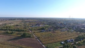 Drone aerial view with Warsaw suburbs stock footage