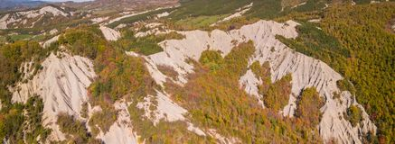 Drone aerial view of woods during the autumn season with warm colors. Drone aerial view of woods during the autumn season with warm colours Stock Image