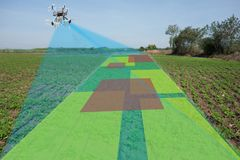 Drone for agriculture, drone use for various fields. Like research analysis, safety,rescue, terrain scanning technology, monitoring soil hydration ,yield Royalty Free Stock Image