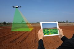 Drone for agriculture, drone use for various fields like research analysis, safety,rescue, terrain scanning technology, monitoring. Soil hydration ,yield Stock Photos