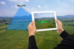 Drone for agriculture, drone use for various fields like research analysis, safety,rescue, terrain scanning technology, monitoring. Soil hydration ,yield Royalty Free Stock Photography