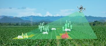 Drone for agriculture, drone use for various fields like research analysis, safety,rescue, terrain scanning technology, monitoring. Soil hydration ,yield stock illustration