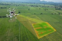 Drone for agriculture, drone use for various fields. Like research analysis, safety,rescue, terrain scanning technology, monitoring soil hydration ,yield Stock Photography