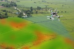 Drone for agriculture, drone use for various fields like research analysis, safety,rescue, terrain scanning technology, monitoring. Soil hydration ,yield Royalty Free Stock Images