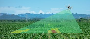 Drone for agriculture, drone use for various fields like research analysis, safety,rescue, terrain scanning technology, monitoring. Soil hydration ,yield royalty free illustration