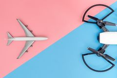 Drone and Air craft facing. Each other dangerous concept Royalty Free Stock Image