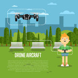 Drone aircraft banner with flying robot Stock Images