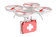 Drone ambulance, First Aid concept. 3D rendering. On white background Royalty Free Stock Images