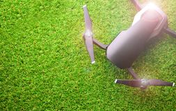 Drone on artificial grass royalty free stock photo