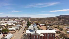 Drone ascending over old courthouse in Tombstone, Arizona