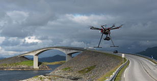 Drone at The Atlantic Ocean Road. In Norway Royalty Free Stock Photo