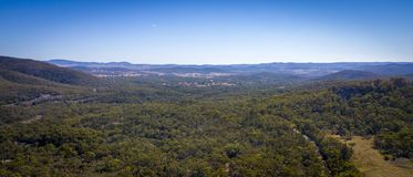 Aerial view of vineyards and granite rocks in Stanthorpe, Australia royalty free stock image