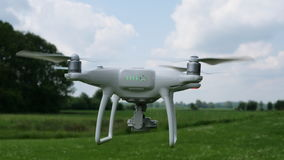 Drone with the back flying on the sky.  royalty free stock photos
