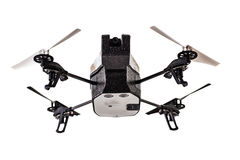 Drone from below. A quad copter spy drone isolated over a white background Stock Photography