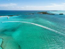 Drone bird view of exuma in the bahamas. summer vaction royalty free stock images