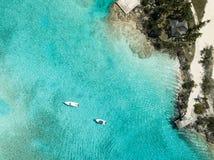 Drone bird view of exuma in the bahamas. summer vaction royalty free stock image
