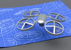 Drone blueprint. Drone flying over drawing blueprint royalty free stock image