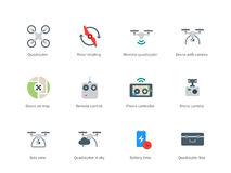Drone with Camera color icons on white background. Pictogram collection of Drone and Parts, Rotor, Controller, Battery, Box, Quadcopter for Filming and Delivery Stock Photography