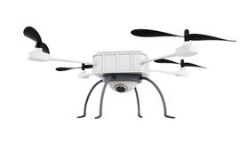 Drone with camera isolated on white background. 3d rendering.  Royalty Free Stock Photos