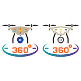 Drone with camera line icon, outline and solid vector sign, line Stock Photos