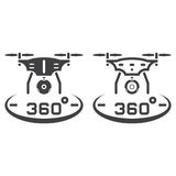 Drone with camera line icon, outline and solid vector sign, line Royalty Free Stock Photo