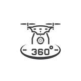 Drone with camera line icon, quadcopter outline vector logo illu Stock Photo