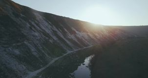 Drone capturing amazing view of nature lake and mountain fabulous video. stock footage