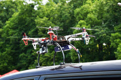 Drone on the car Stock Image