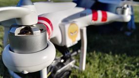 Drone. Carbon drone gps aeromodelism movie turning sky helicopter stock photography