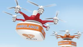 Drone carrying AED kit for emergency medical care concept stock footage