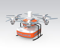 Drone carrying AED medical kit for emergency medical care concept Royalty Free Stock Photo