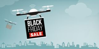 Drone carrying a black friday sale advertisement banner stock images