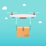 Drone carrying carton box. Delivery concept service. Business se Stock Image