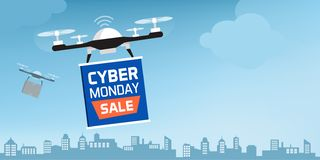 Drone carrying a cyber monday advertisement banner stock photos