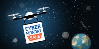 Drone carrying a cyber monday advertisement banner royalty free stock photos