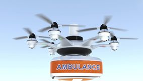Drone carrying first aid kit for emergency medical care concept
