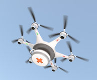 Drone carrying first aid kit in the sky. Drone carrying first aid kit for emergency medical care concept stock photography