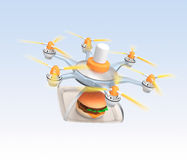 Drone carrying hamburger for fast food delivery concept Royalty Free Stock Images