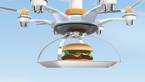 Drone carrying hamburger for fast food delivery concept stock video footage