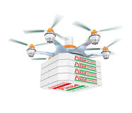 Drone carrying pizza for fast food delivery concept Stock Photos