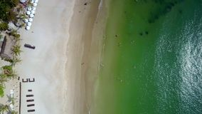 Drone circles above tropical coast ocean beach. Drone circles high above fantastic tropical coast golden sand beach with white parasols near luxury hotel stock video